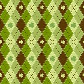 Seamless pattern Vector green clover background for St. Patrick's Day