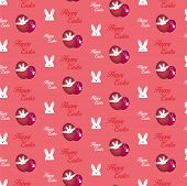 Happy Easter Rabbit Bunny Pink Seamless Background