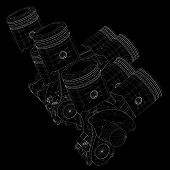 foto of piston-rod  - Pistons V8 engine body structure wire model - JPG