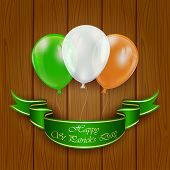 Patricks Day Balloons On Wooden Background