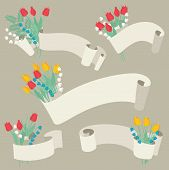 Ribbons and flowers set - Vector illustration.