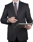 Man In Business Suit With Tablet