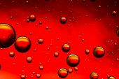 Vivid red and gold abstract oil and water abstract
