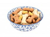 Dog Biscuits In A Blue And White China Bowl