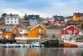 Norwegian Fishing Village, Wooden Houses On The Sea Coast