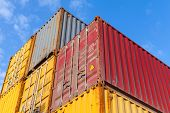 Colorful Metal Industrial Cargo Containers Are Stacked