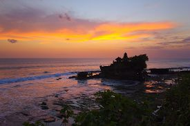 picture of tanah  - Balinese hindu temple Tanah Lot at sunset (Bali Indonesia Asia) ** Note: Soft Focus at 100%, best at smaller sizes - JPG