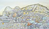 image of chapels  - Ink and watercolour of the byzantine chapel at ancient Thira Santorini Greece - JPG