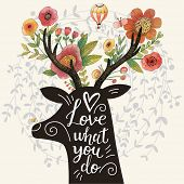 Постер, плакат: Love what you do Incredible deer silhouette with awesome flowers in horns Lovely spring concept de