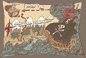 picture of pirates  - Island Treasure Map - JPG