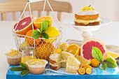 picture of sponge-cake  - Citrus Victoria Sponge Cake with Lemon Curd and variety of fresh citrus fruits - JPG