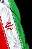 stock photo of tehran  - Iranian waving flag on black background - JPG