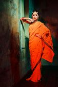 image of indian beautiful people  - Young beautiful woman in bright Indian costume - JPG