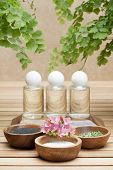 stock photo of ayurveda  - ayurveda treatment three bottles with essential oils made of natural ingredients - JPG