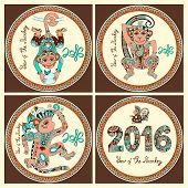foto of ape  - original design collection for new year celebration with decorative ape and inscription  - JPG