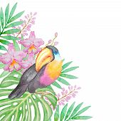 stock photo of tropical birds  - Watercolor background with tropical bird and flowers - JPG