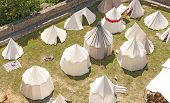 pic of reconstruction  - Medieval tent settlement reconstruction Bolkow castle in Poland - JPG
