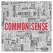 stock photo of senses  - Close up COMMON SENSE Text at the Center of Word Tag Cloud on White Background - JPG