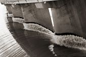 image of dam  - Black and white view from one side of the wall of famous Gariep Dam near Norvalspont in South Africa - JPG
