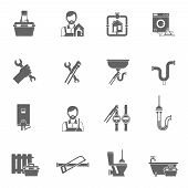 picture of handyman  - Plumber and pipeline supply handyman icons black set isolated vector illustration - JPG