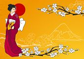 picture of geisha  - Geisha on traditional japanese background with sakura flowers and mountain silhouette vector illustration - JPG