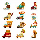 foto of ice-cream truck  - Mobile food stores and delivery trucks cartoon set isolated vector illustration - JPG