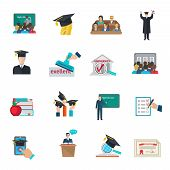 foto of cloak  - Higher education and graduation with cloaks and academic caps icons set flat isolated vector illustration - JPG