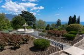 picture of fountain grass  - fountain in the garden in front of the white Livadia Palace in Yalta - JPG