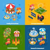 stock photo of amusement  - Amusement park isometric set with family attractions extreme and romantic entertainment isolated vector illustration - JPG