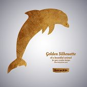 picture of dolphin  - Creative design with golden silhouette of a dolphin for card - JPG