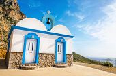 pic of greek-island  - A view of a Greek church with iconic blue colors on Greek island - JPG