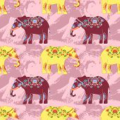 image of indian elephant  - Seamless pattern with indian elephant with beautiful pattern - JPG