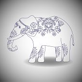 picture of indian elephant  - Indian elephant with beautiful pattern - JPG