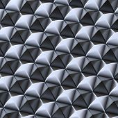stock photo of pyramid shape  - Abstract background made of surface covered with black and silver square shaped pyramid blocks - JPG