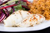 picture of soles  - baked sole fish roll with rice and fresh salad dish - JPG