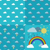 picture of rain cloud  - Three weather pattern seamless sky with clouds rain lightning and thunderstorm and objects rainbow iris arch sun and rainclouds vector - JPG
