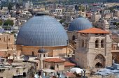 picture of israel people  - Urban aerial view of the Church of the Holy SepulchreChurch of the Resurrection at the old city of Jerusalem Israel - JPG