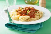 foto of meatball  - spaghetti with meatballs in tomato sauce - JPG