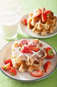 picture of icing  - belgian waffles with icing sugar and strawberry - JPG