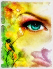 picture of animal eyes  - blue goddness women eye with birds on multicolor aquarel background - JPG