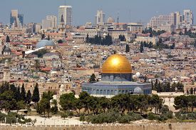 picture of israel people  - Urban landscape view of Jerusalem and The Dome of the Rock on the Temple Mount from the mount of Olives in Jerusalem Israel - JPG