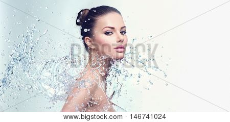 poster of Beautiful Model Spa Woman with splashes of water. Beautiful Smiling girl under splash of water with