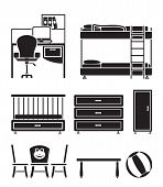 nursery and children room objects, furniture and equipment - vector illustration