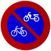 Red And Blue Bicycle Reflector Sign