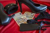 Prostitute Or Striptease Concept, 50 Euro Banknot With Sex Toys On Red Bed poster