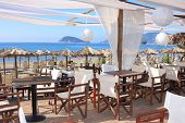 Cafe on the beach in Greece