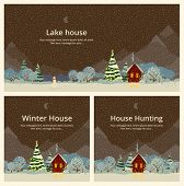 Winter night, house in the mountains, festive fir. Vintage style