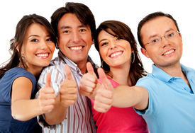 pic of hands up  - Group of friends with thumbs up  - JPG