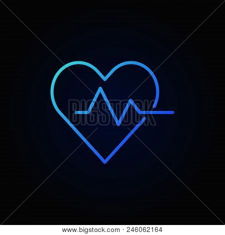 poster of Heart Cardiogram Blue Icon - Vector Heartbeat Sign In Thin Line Style On Dark Background