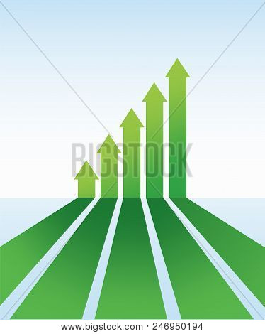 poster of Up Arrows. Up Arrows In Flat Style. Perspective Arrows. Green Arrow. The Green Arrows In Ascending O